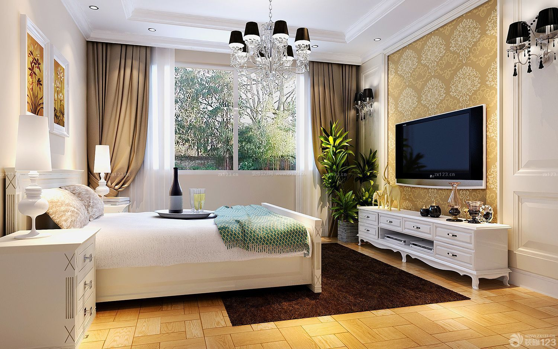 简欧式卧室壁纸电视背景墙装修效果图