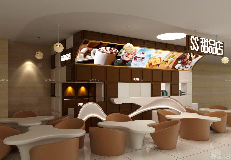 甜品店店面木质墙面装修效果图片