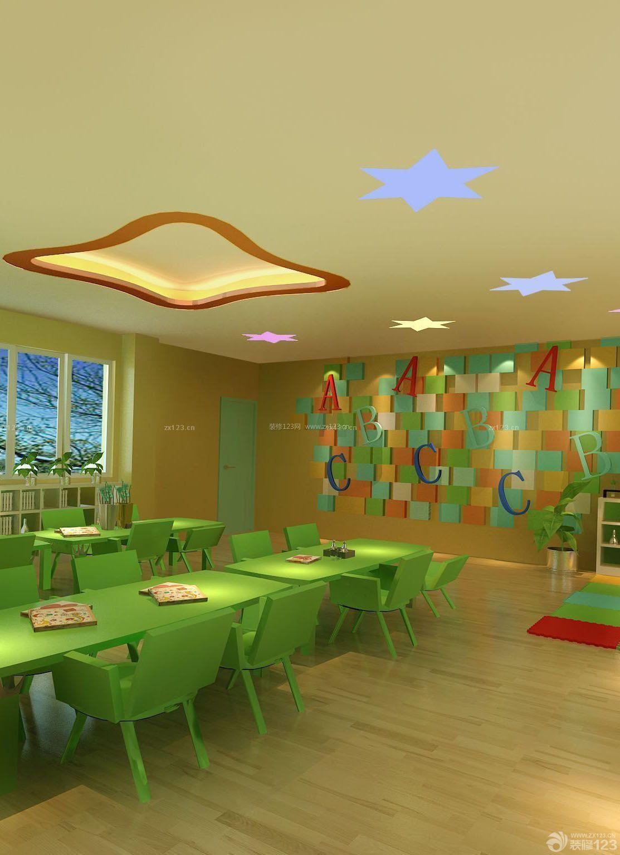 武汉幼儿园教室浅色木地板装修效果图片