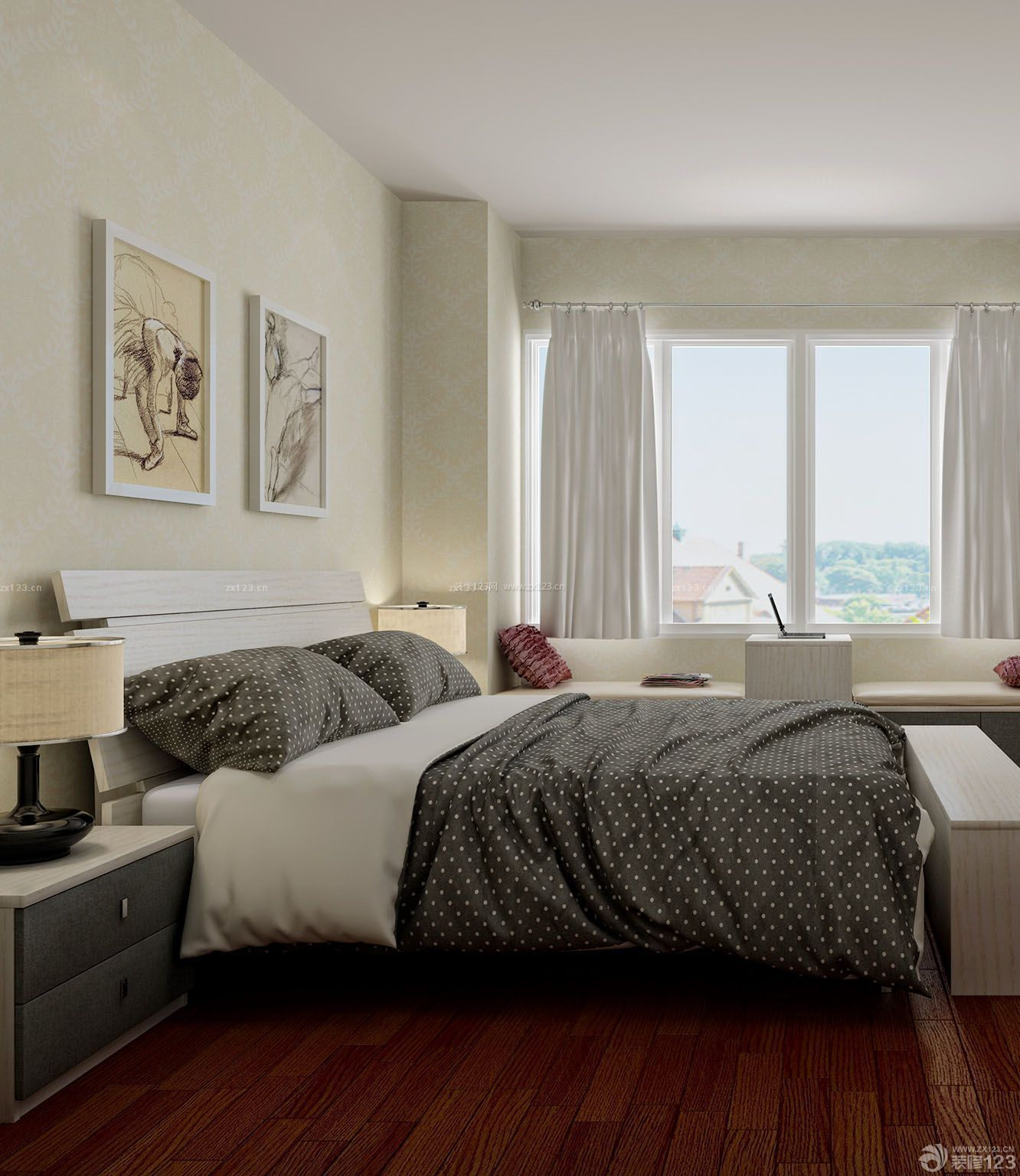 韩式榻榻米卧室门洞造型装修效果图图片