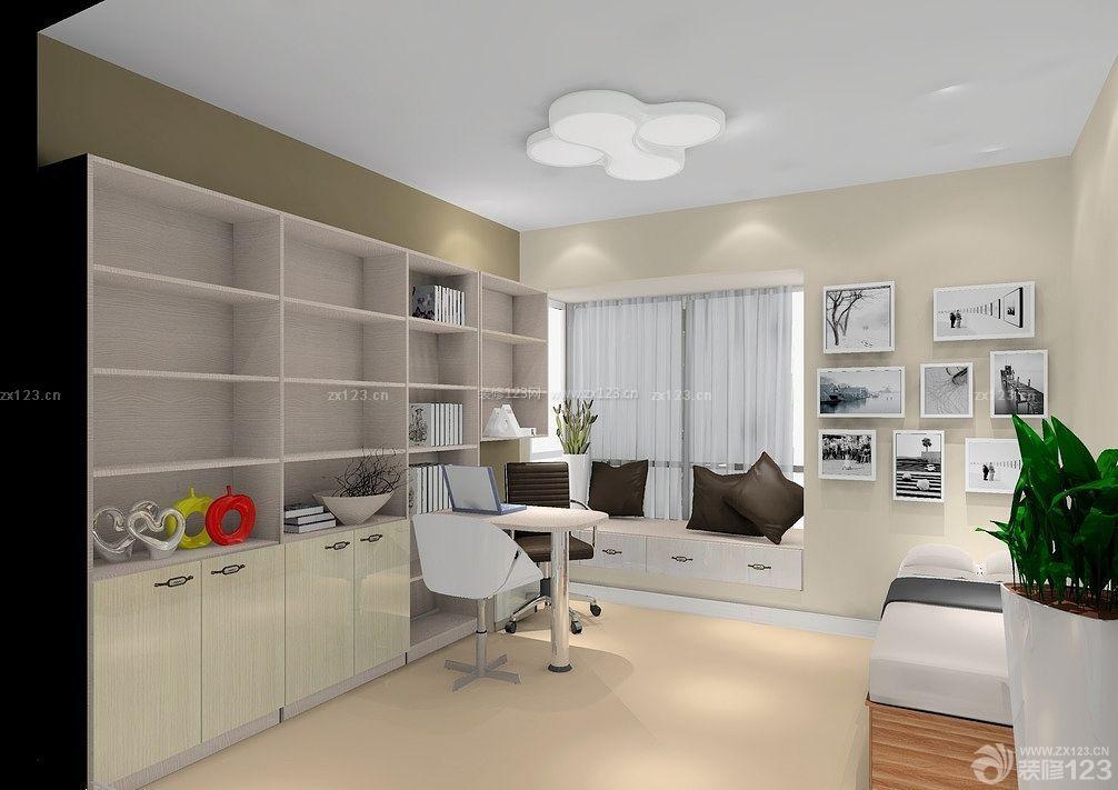 新中式小书房榻榻米设计效果图_装修123效果图