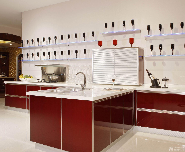 西式厨房红色橱柜装修效果图片