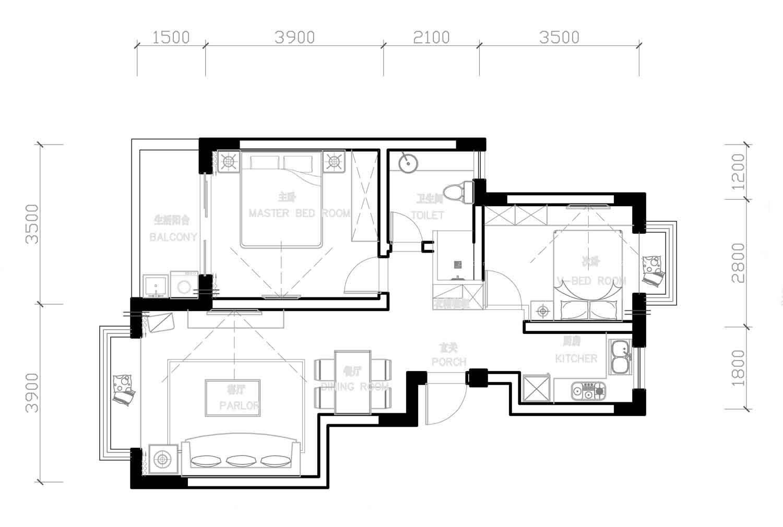 家庭室内厨房设计平面图