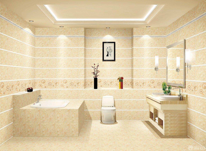 厕所简约花纹瓷砖设计装修效果图片