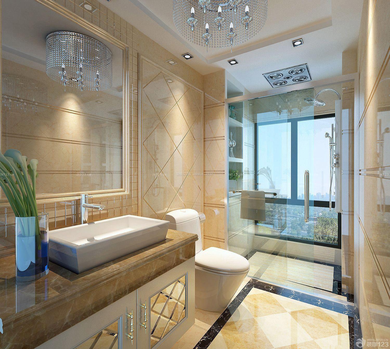 欧式新古典厕所推拉门设计装修效果图