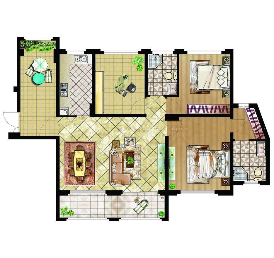 住房室内厨房设计平面图图片
