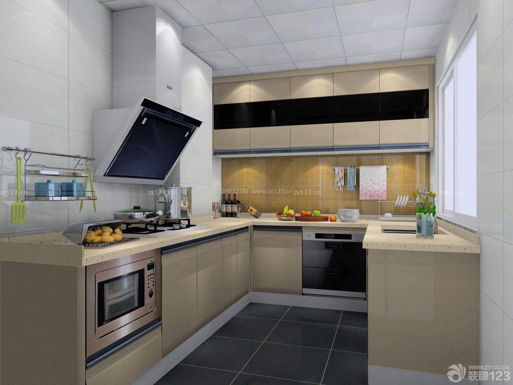 现代室内u型厨房装修效果图