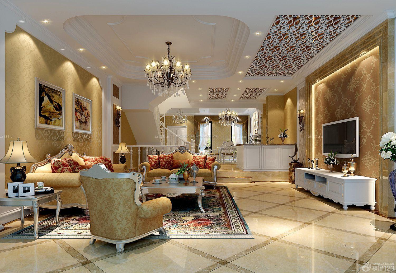 新古典别墅客厅装饰画装修图片