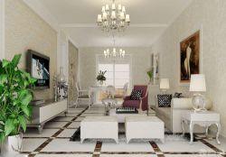 歐式新古典風格客廳裝飾畫裝修圖
