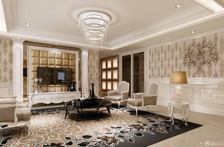 欧式新古典客厅吊顶图片