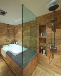 家裝衛生間玻璃隔斷墻圖片