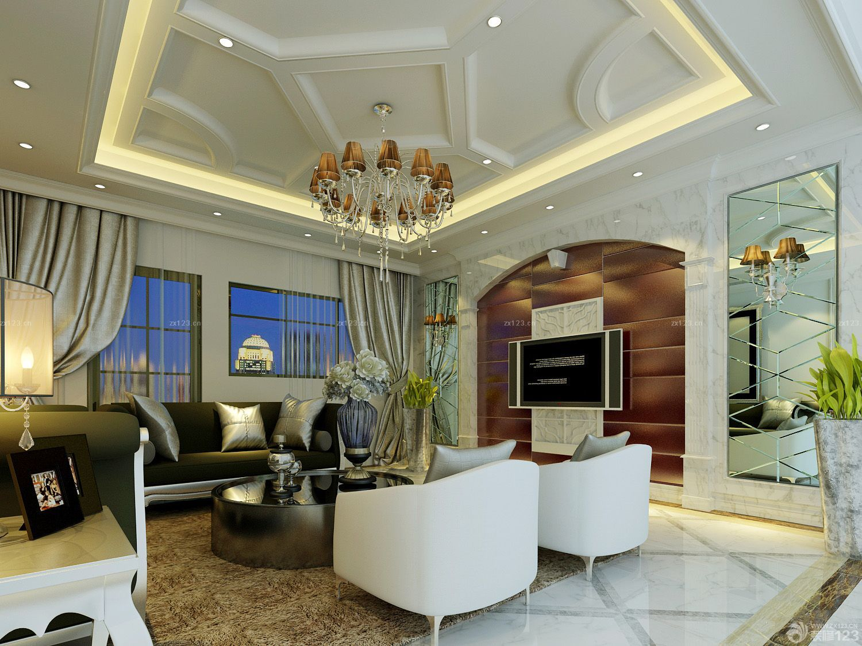 黑白风格室内客厅装修效果图欣赏