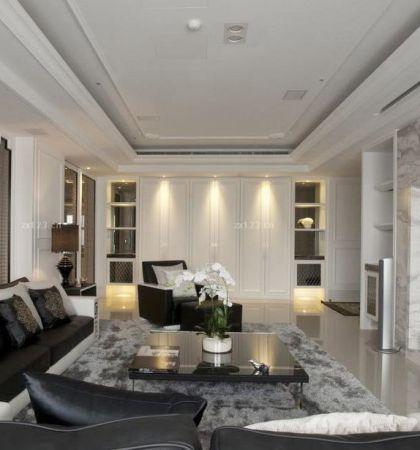 新古典客厅石膏线吊顶效果图