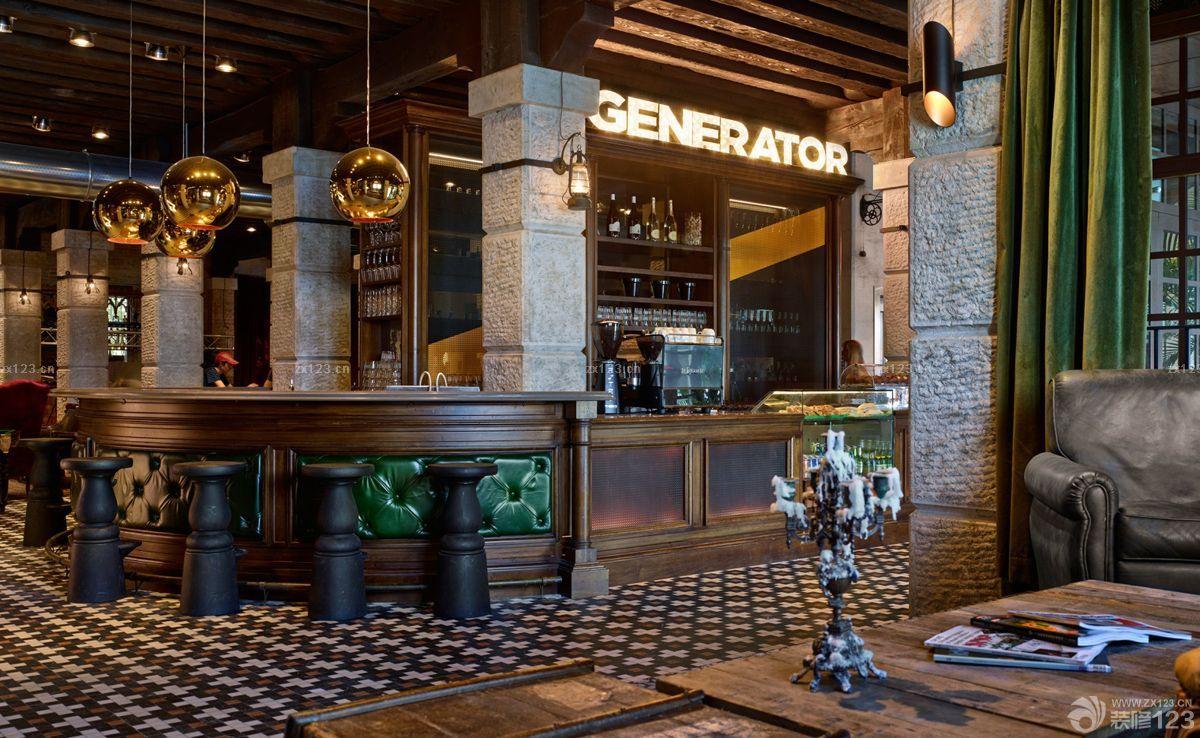 复古美式风格酒店酒吧吧台图片_装修123效果图图片