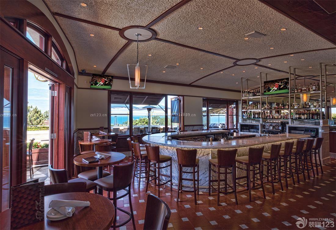 复古美式风格酒店酒吧吧台图片_装修123效果图