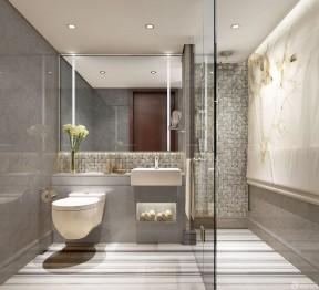 酒店厕所装修效果图 浴室玻璃隔断效果图