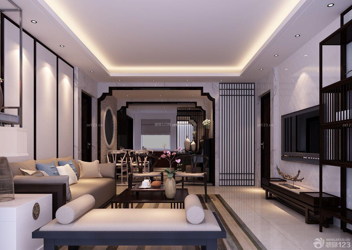 中式家装110平方房子客厅装修图_装修123效果图