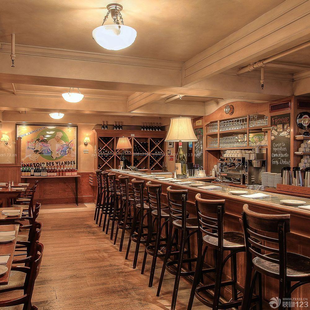 复古美式风格酒吧创意酒柜装修效果图图片