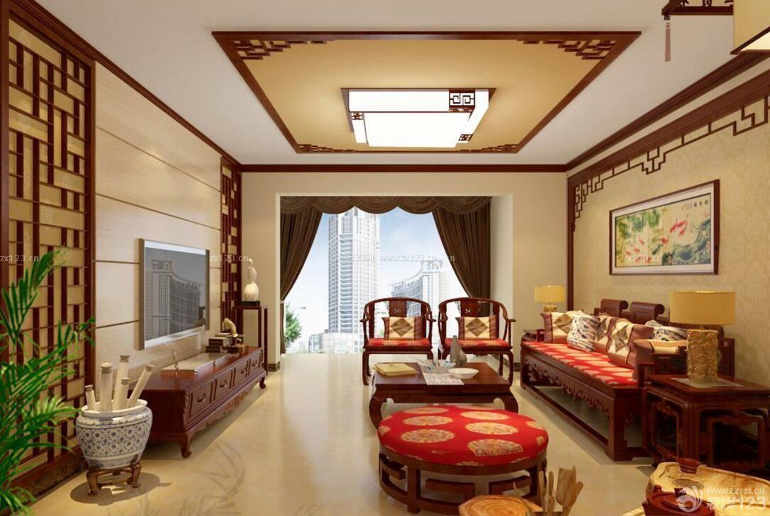 新中式风格家装客厅装修设计效果图库