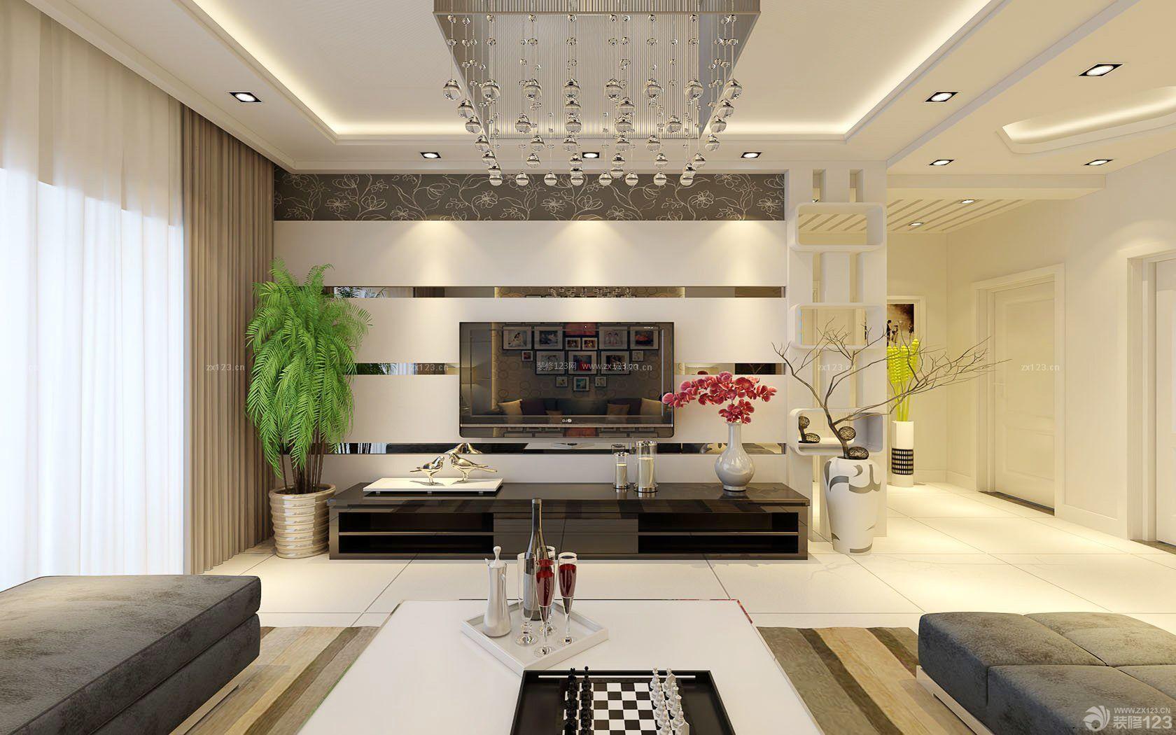 70平米两室一厅石膏板电视背景墙装修效果图