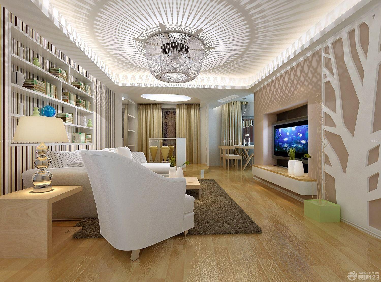 80平米两室一厅客厅艺术吊顶装修效果图片
