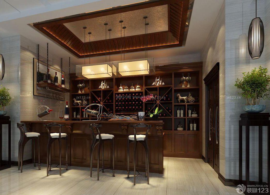 传统酒吧中式酒柜装修效果图片