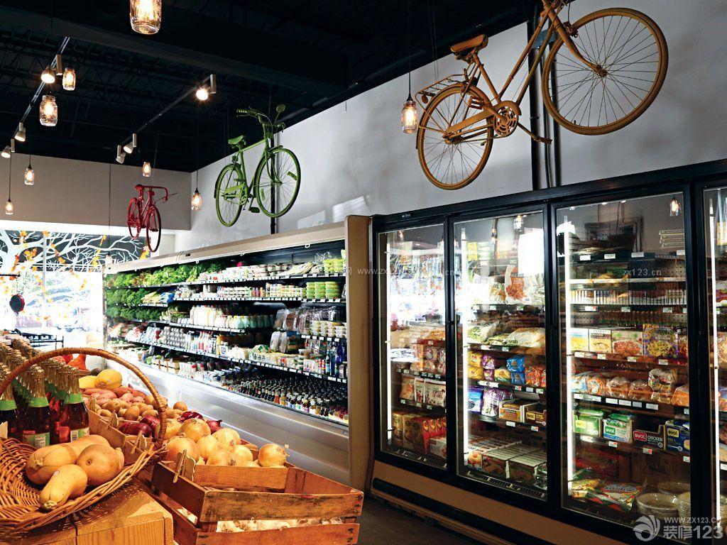 创意小型超市装修玻璃展示柜图片图片