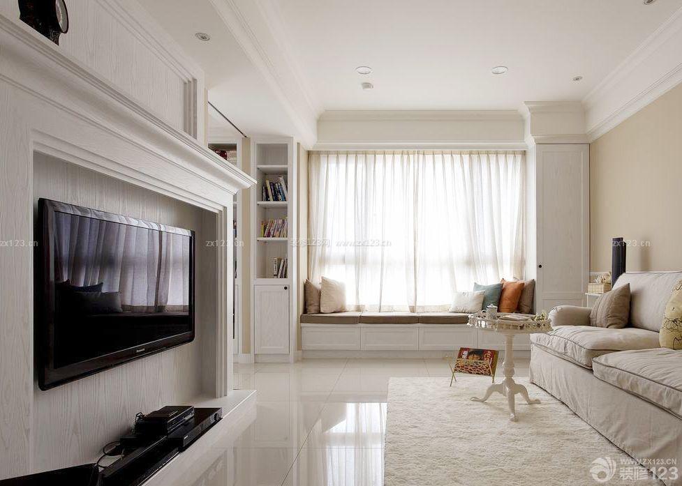 白色简约室内客厅电视墙设计装修效果图