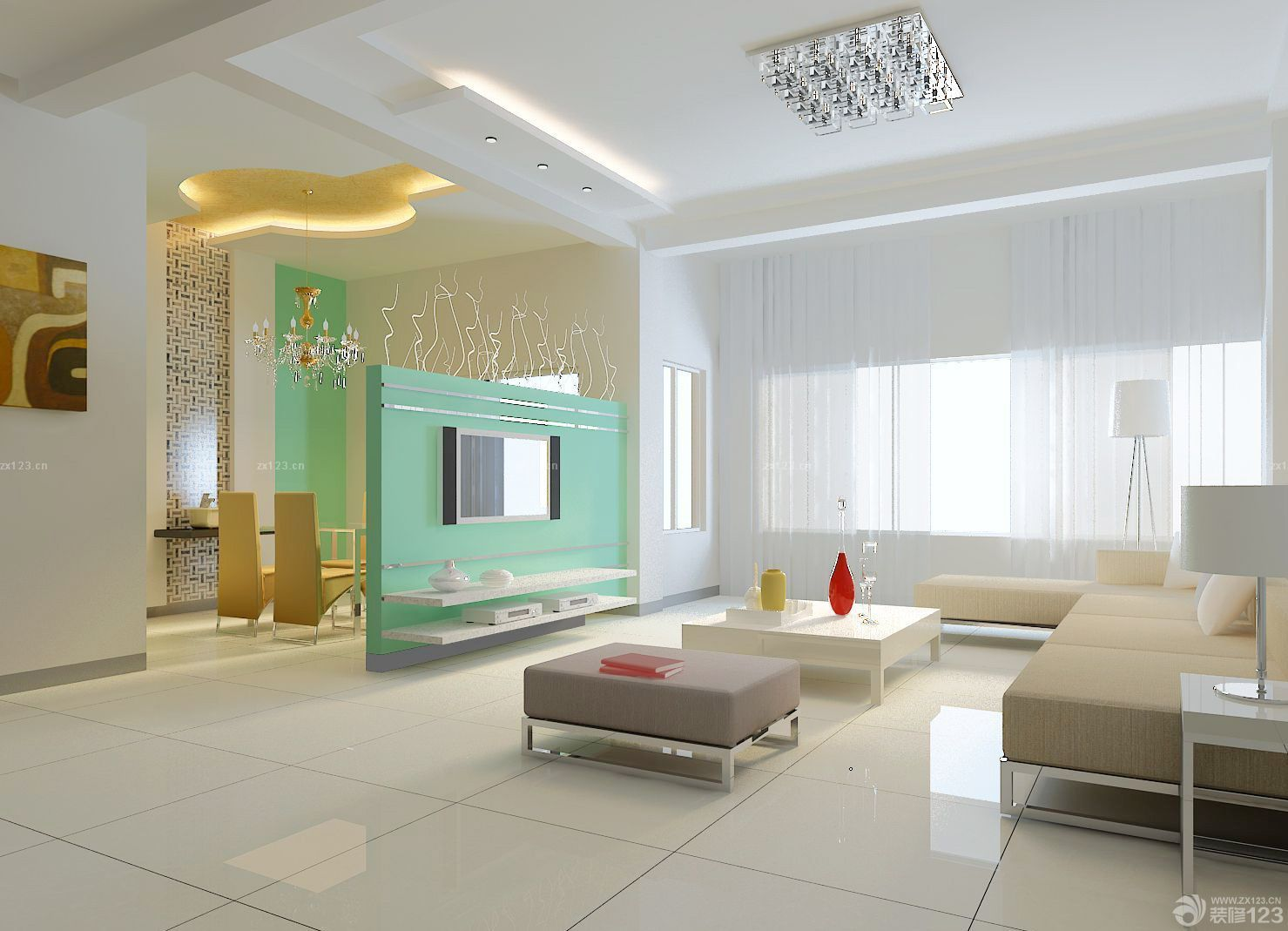 简欧风格90平米两室一厅装修效果图