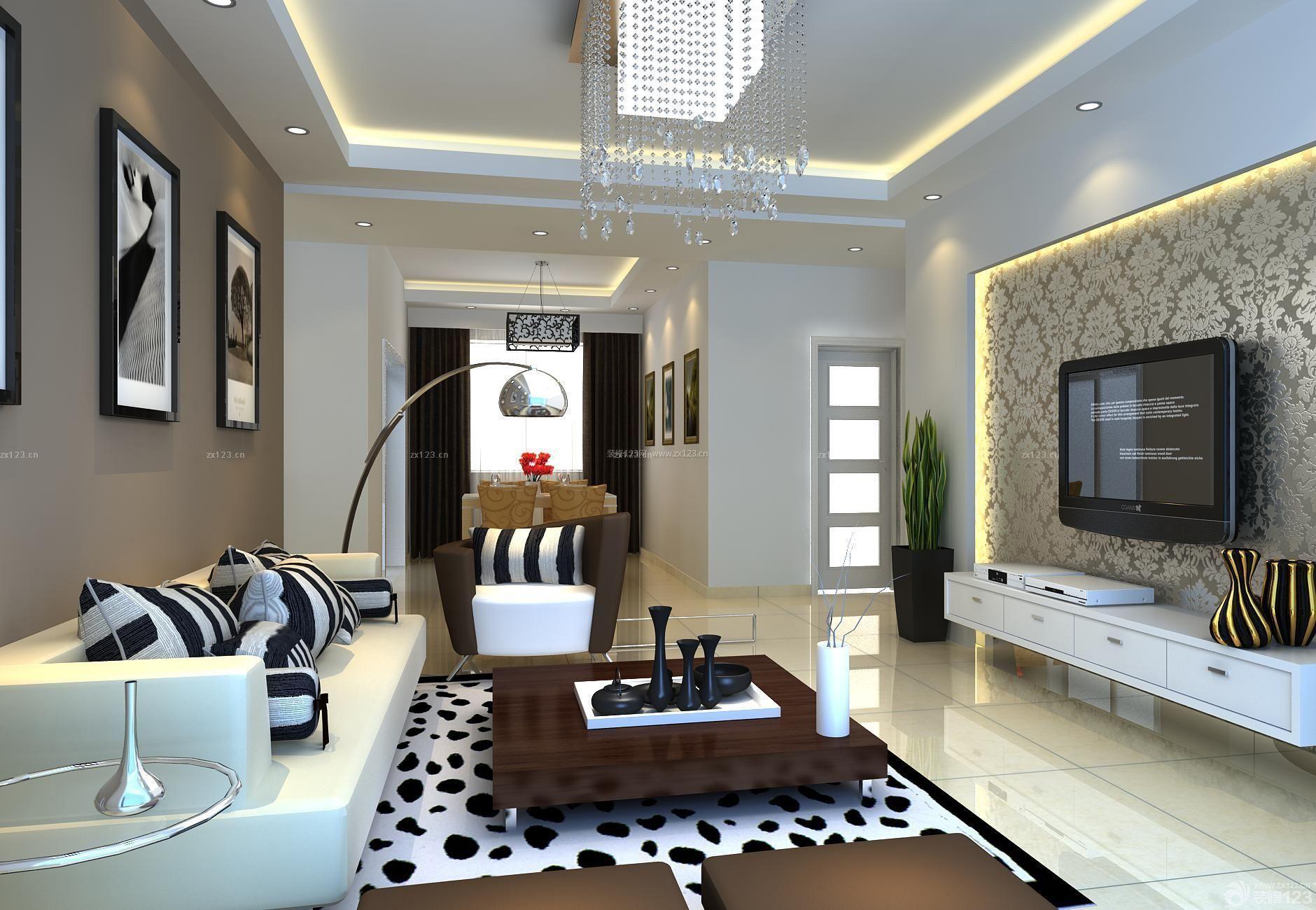 現代歐式90平米兩室一廳客廳裝修效果圖圖片
