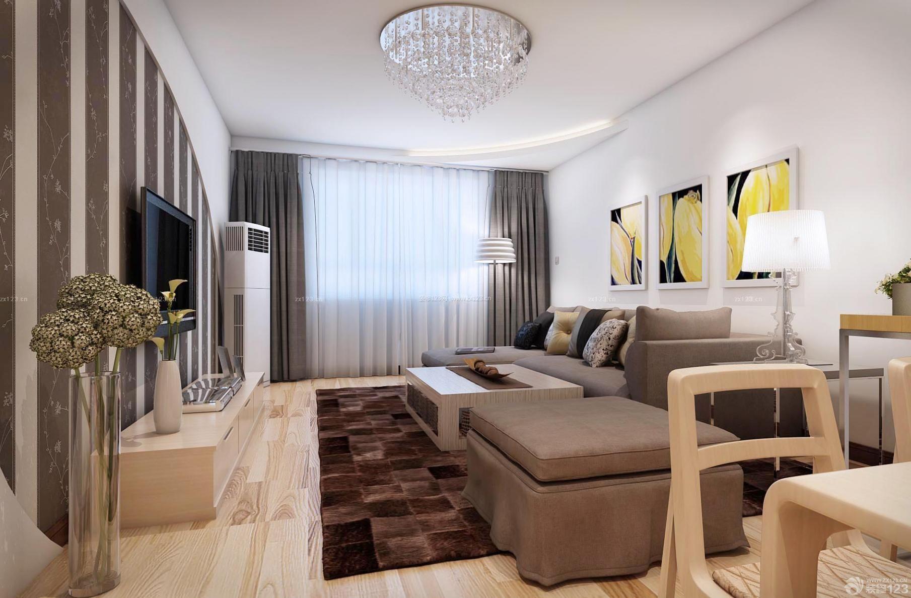 现代欧式风格90平米两室一厅装修效果图