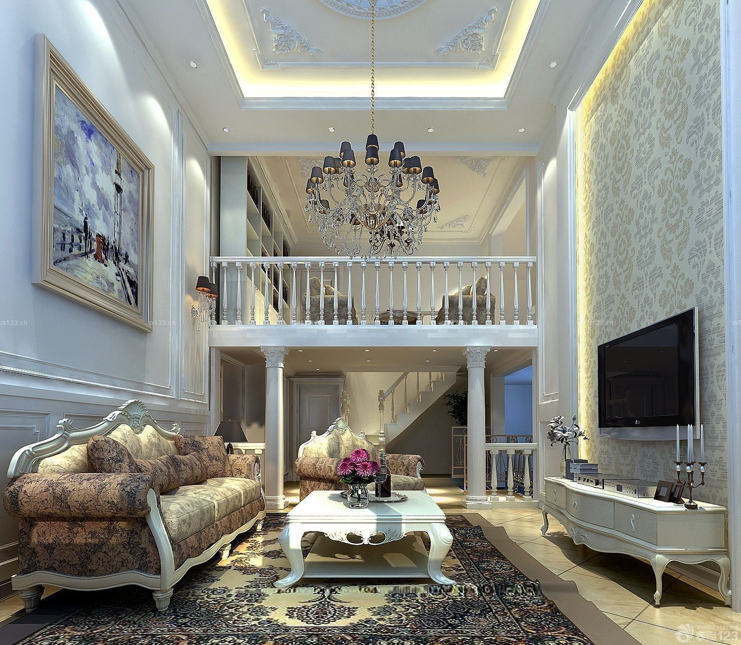 跃层住房客厅电视背景墙装修效果图图片