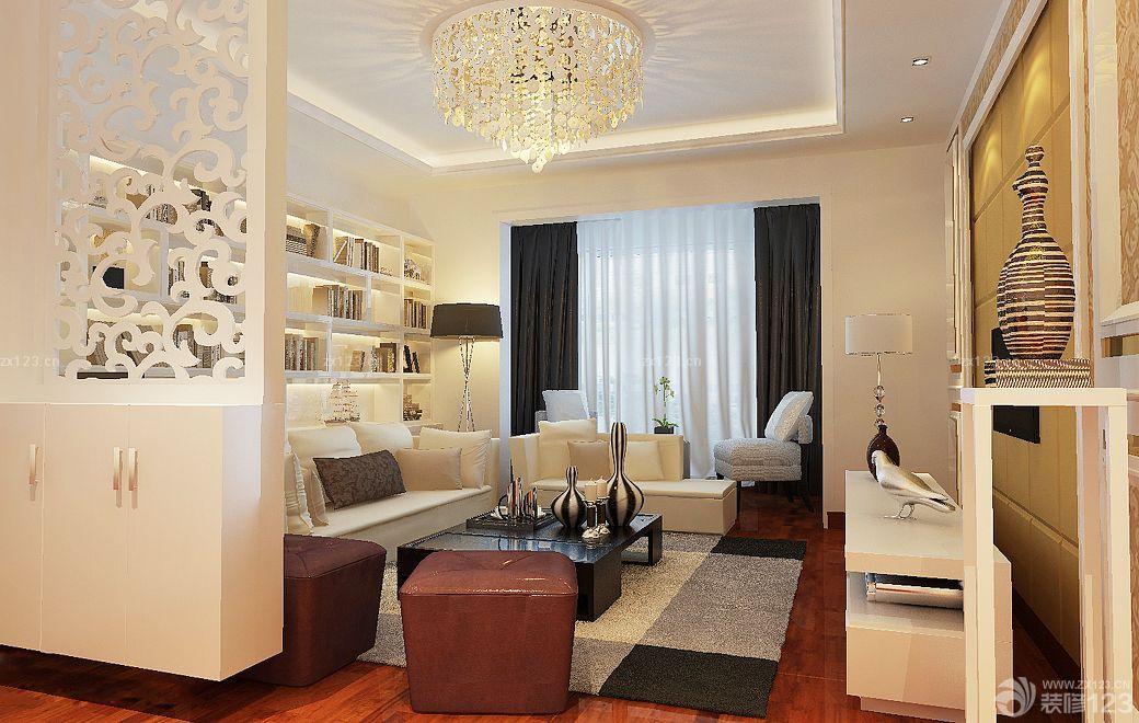 现代欧式风格客厅隔断柜设计装修图图片