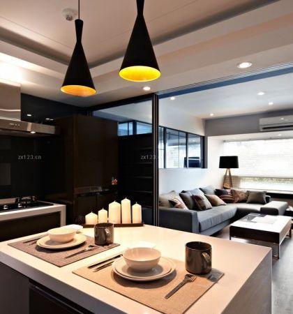 130平米简约风格开放式厨房吧台装修设计