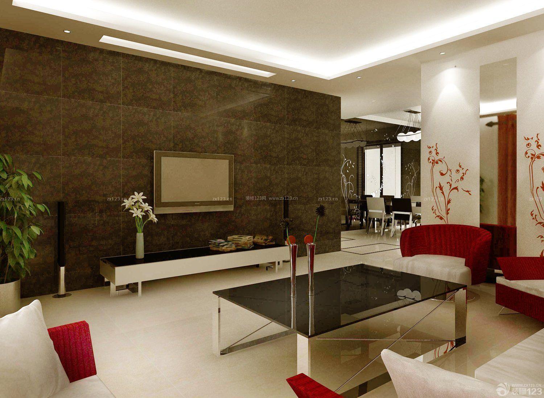 客厅硅藻泥电视背景墙装修效果图片