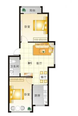 50平米经典小户型房屋平面图