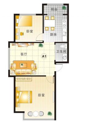 50平两室一厅装修图图片