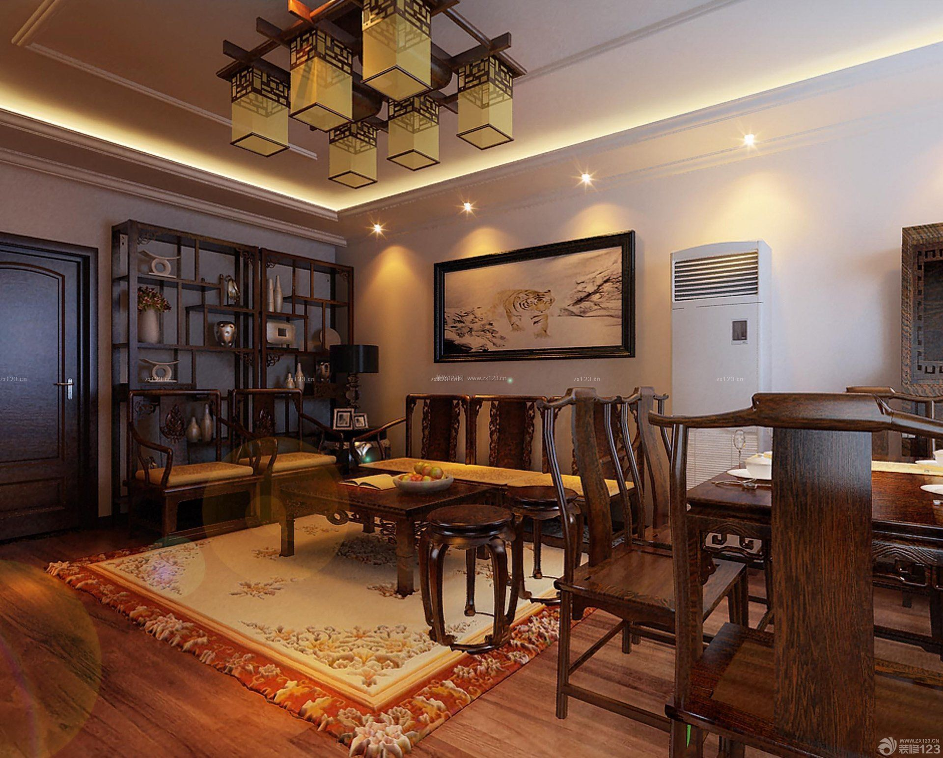 古典办公室室内博古架装修设计图