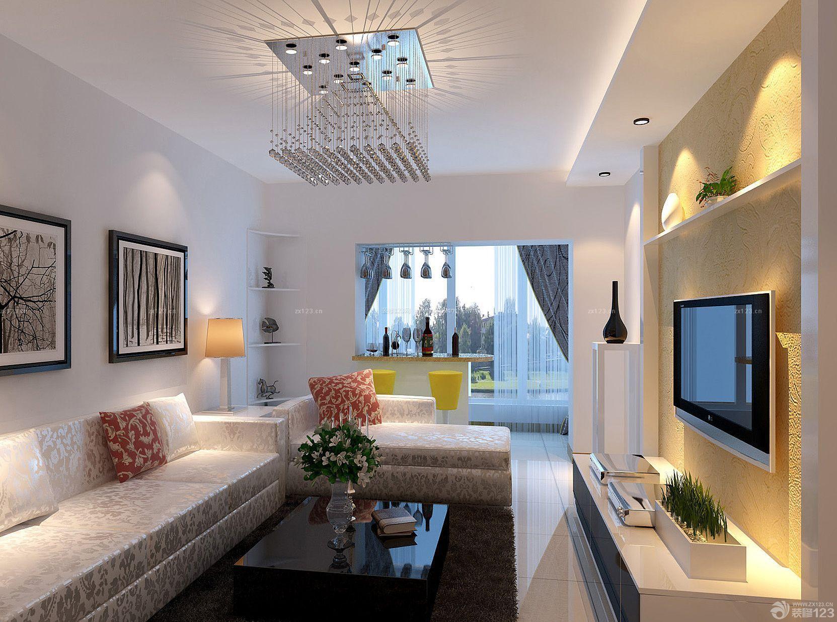 60平米两室一厅小户型客厅家具装修效果图