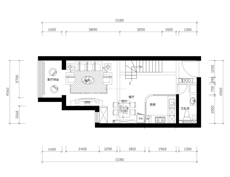 两室一厅70平设计图纸展示图片