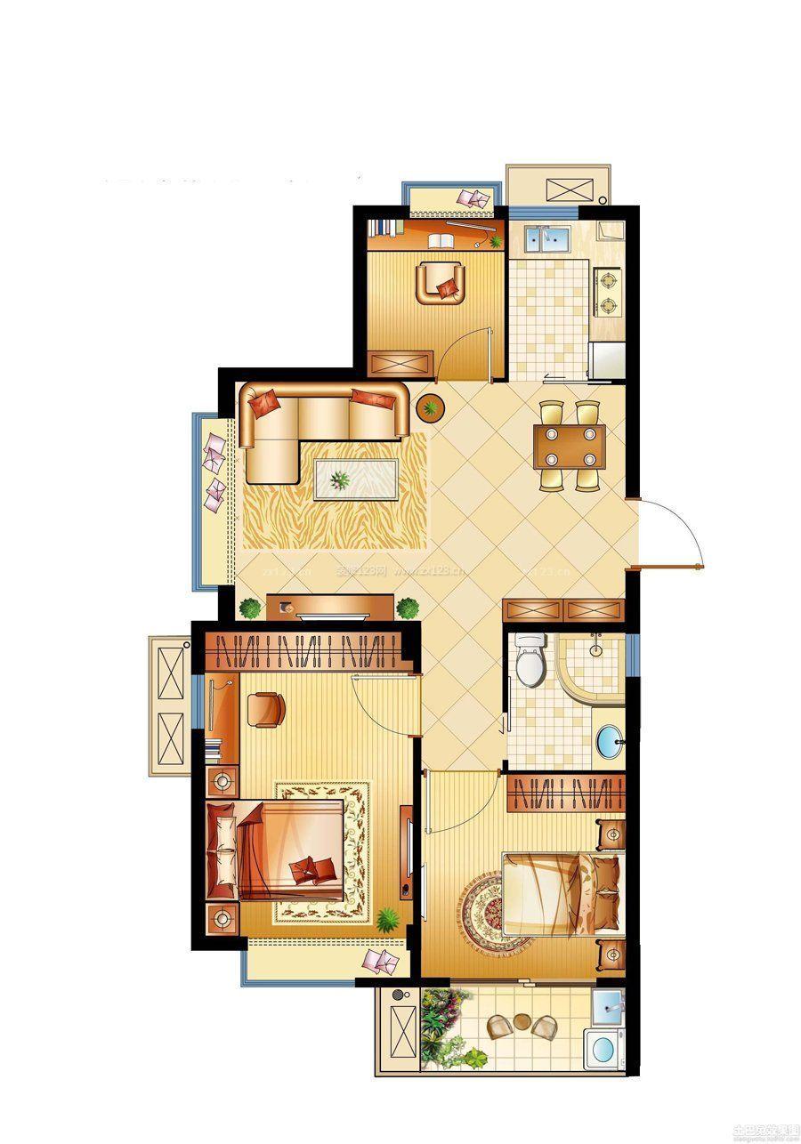60平经典家装设计两室一厅户型图图片