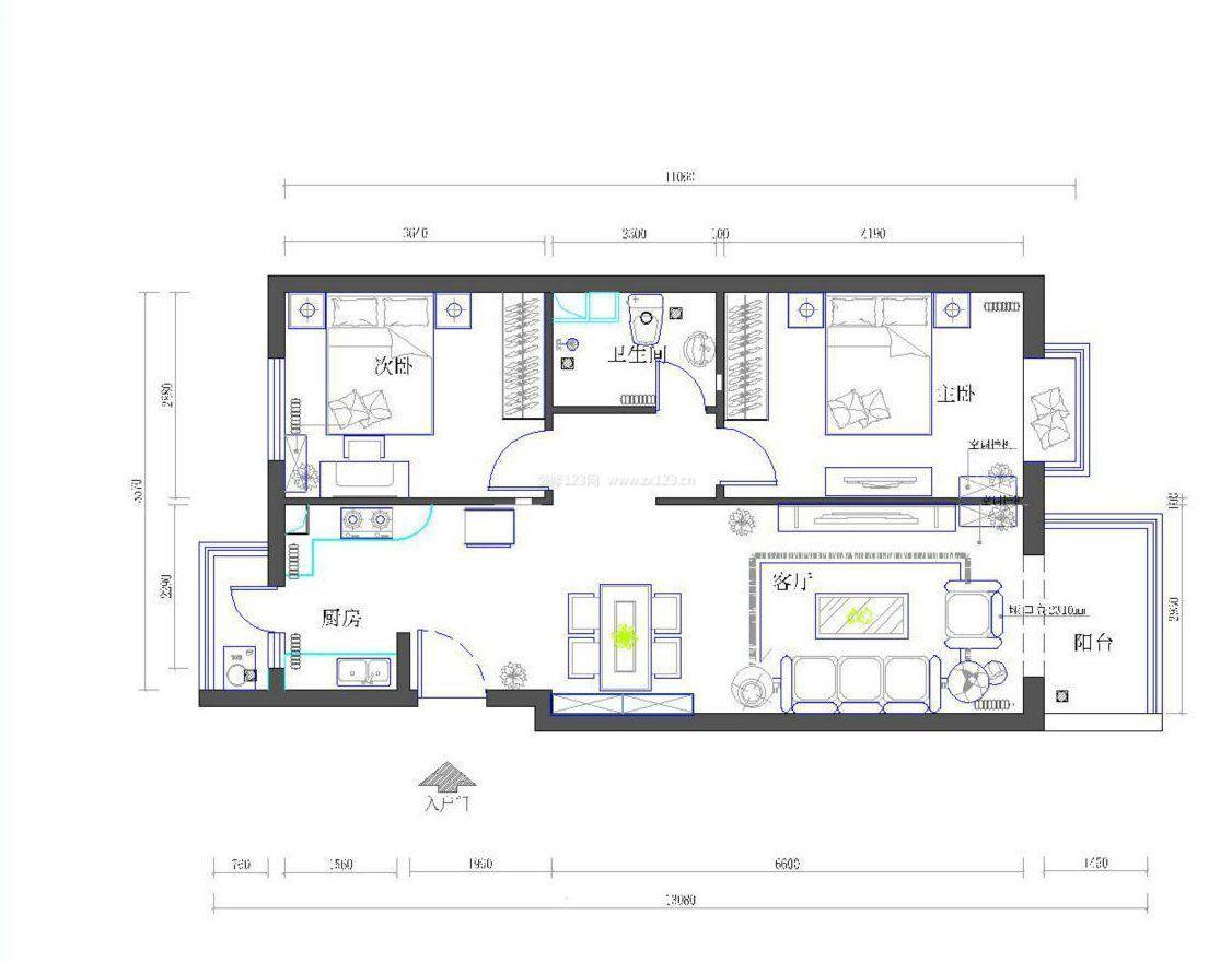 60平自建别墅两室一厅设计户型图