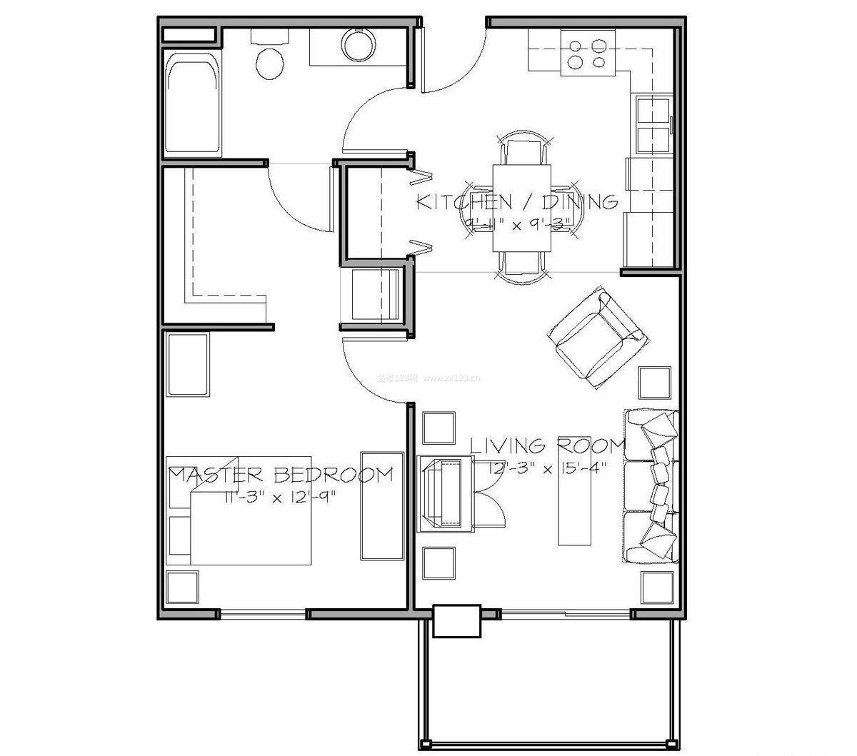 60平自建房两室一厅户型图