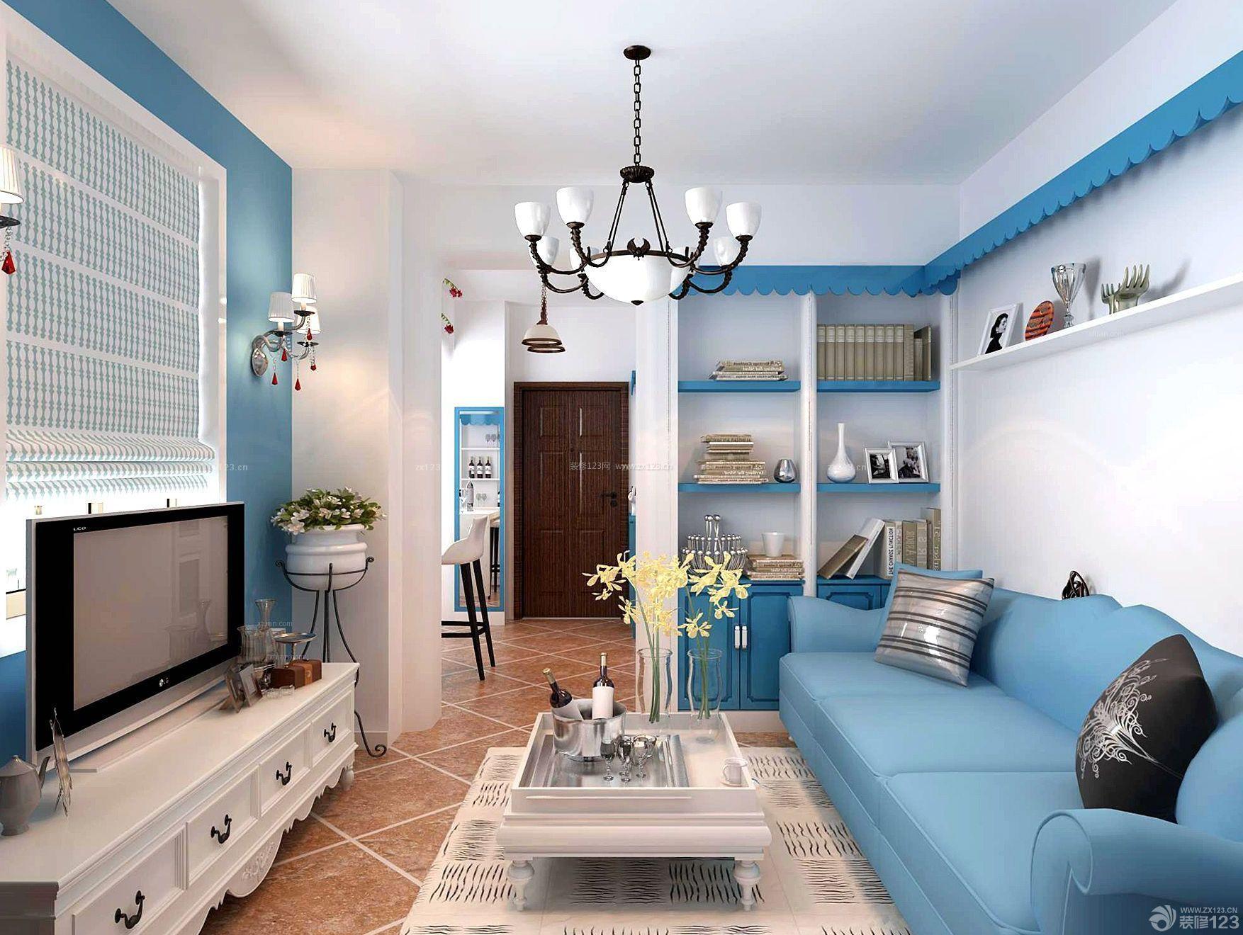 地中海设计风格60平米小户型装修电视背景墙效果图