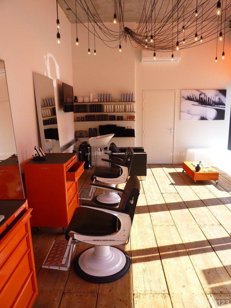 美发店内部白色墙面装修效果图片