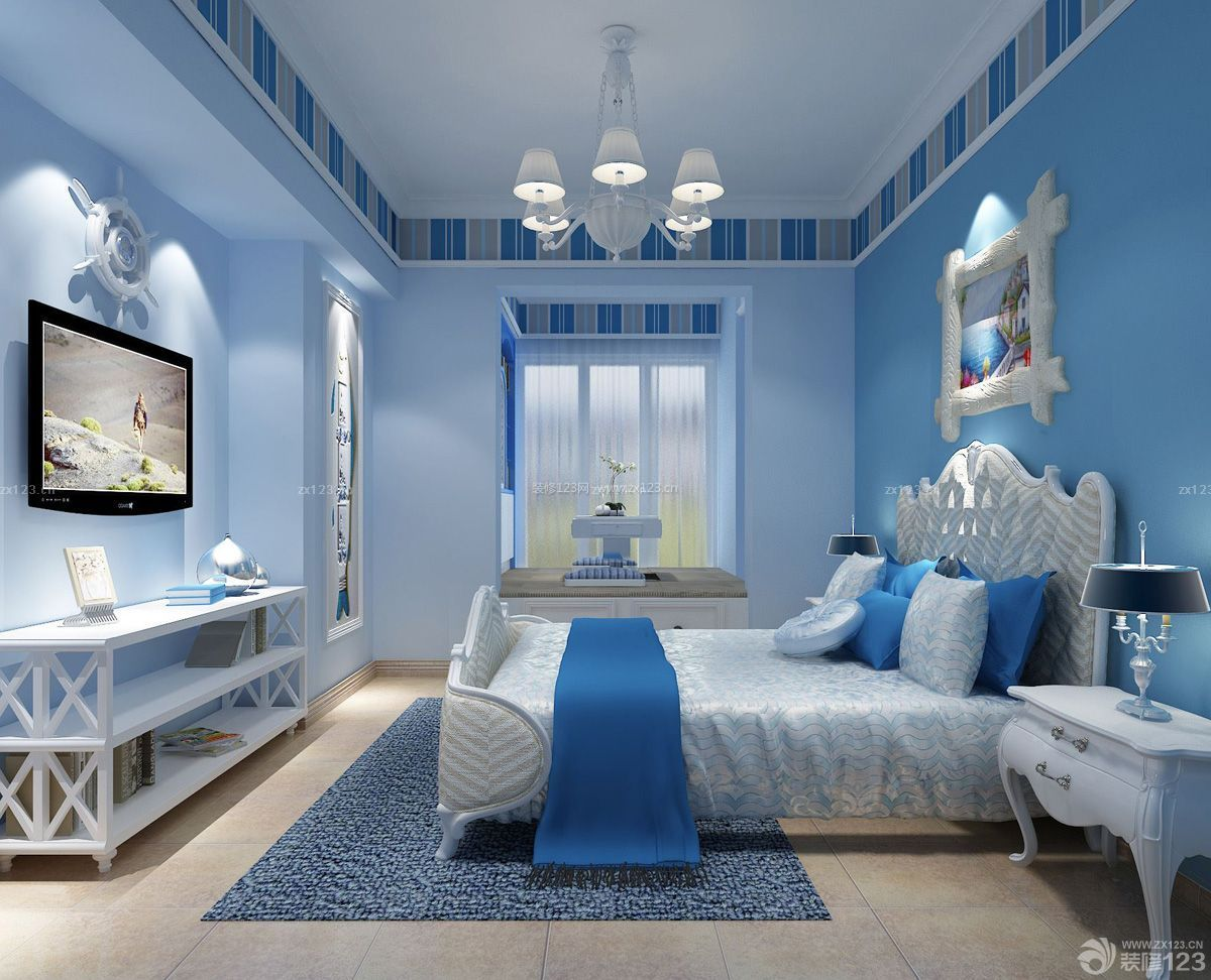 家装效果图 地中海 地中海房子卧室装饰装修设计图片大全110平 提供者