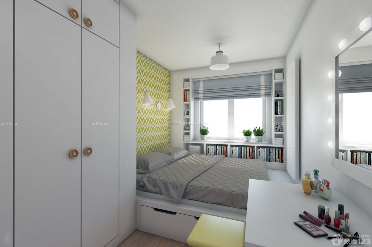 家装效果图 卧室 创意50平方一室一厅小户型卧室组合家具装修图 提供