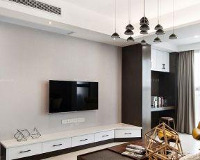70平米两室一厅简约前卫装修效果 客厅电视墙装修设计