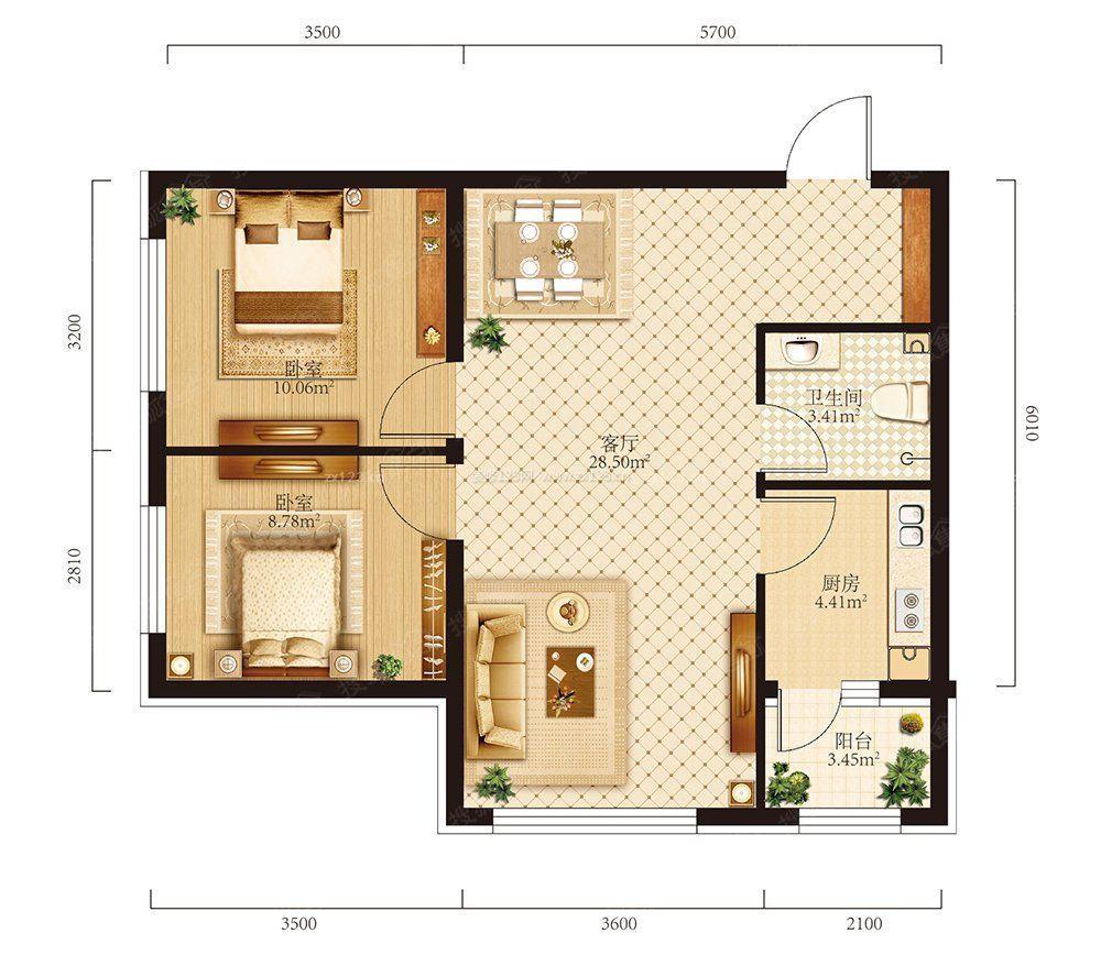 60m2两室一厅户型图片_小户型60平米结构图