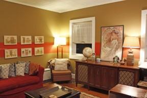 80平米三室一廳小戶型裝修 咖啡色墻面裝修效果圖片